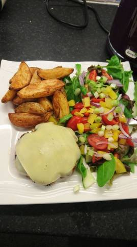 Pork Burger, Cajun Wedges and Salad (Obvs)
