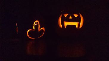 My pumpkin on the left